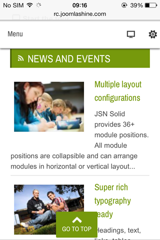 Module positions in mobile layout